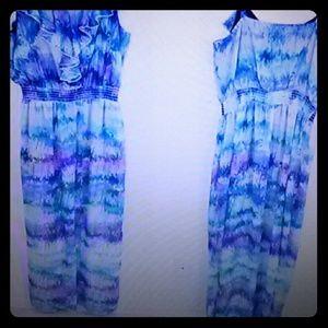 Tie-dyed spaghetti-strap maxi-dress front & back v
